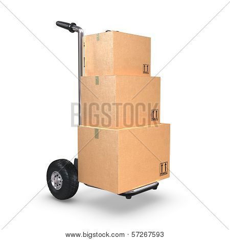 Hand Truck Upright With Three Boxes
