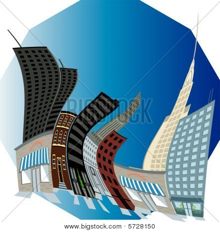 City Illustrations in cartoon warped building effect vector poster
