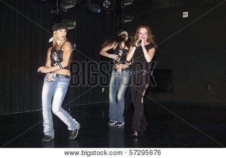 Shaylene Benson, Scarlett Pomers and Erica Graff at Club One Seven, Scarlett Pomers performs, Hollywood and Highland, Hollywood, CA 08-09-02