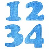 alphabet blue jean craft stick on white background ( 1 2 3 4 ) poster