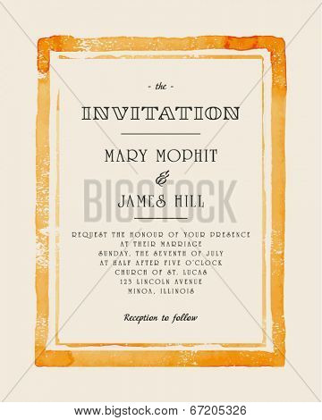 Wedding invitation with watercolor frame. Retro stile hand drawn ornament. Vector illustration