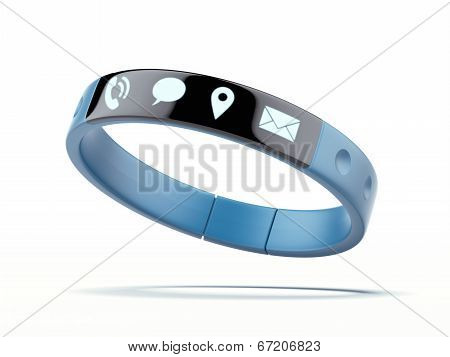 Smart wristband isolated on a white background. 3d render poster
