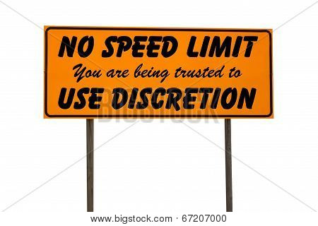 Orange Rectangle Sign With No Speed Limit