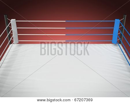 Boxing Ring Isolated On Red