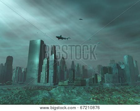 Modern city under the sea