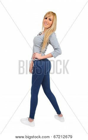 Isolated Casual Woman