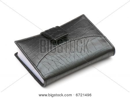 Leather purse cards isolated on a white background. Studio poster