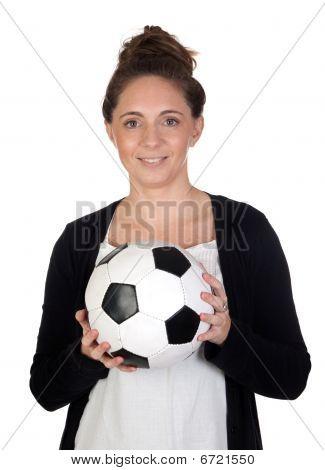 Nice Girl With Soccer Ball