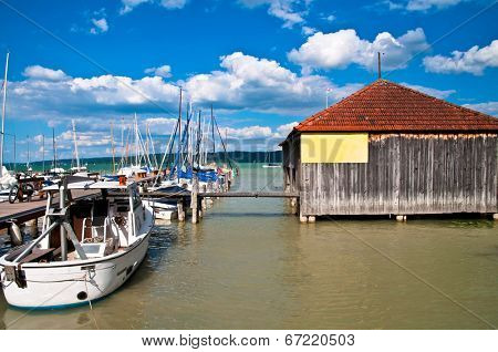 Boat harbor on the Ammersee in Germany