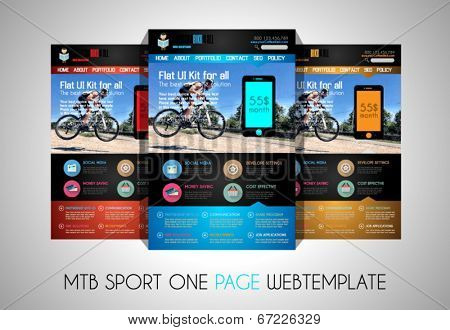 One page SPORT website flat UI design template. It include a lot of flat stlyle icons, forms, header, footeer, menu, banner and spaces for pictures and icons all in one page.