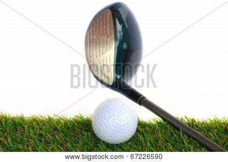 Golf Equipment And Golf Ball On White Background