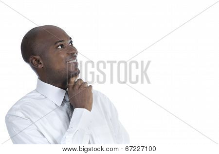 African Business Man Thinking, Isolated