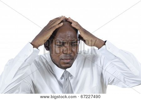 African Business Man Has Headache