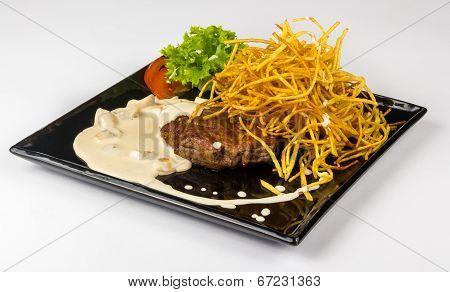 Steak With Potato Straw In Mushroom Sauce