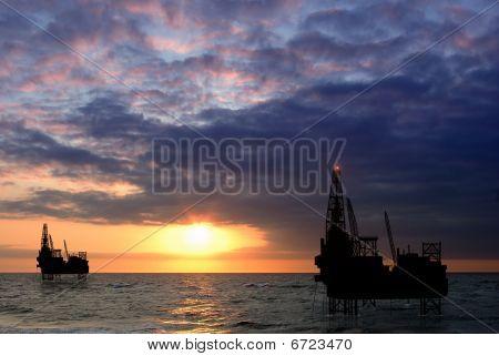 drilling platform on sea
