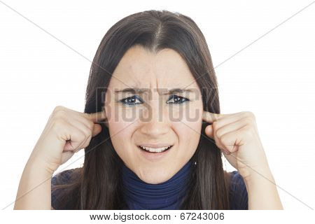 Woman With Fingers In Her Ears