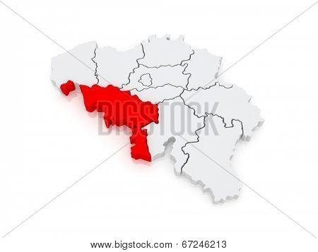 Map of Hainaut. Belgium. 3d poster