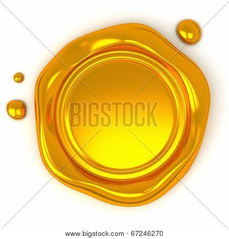 Gold wax seal, 3d