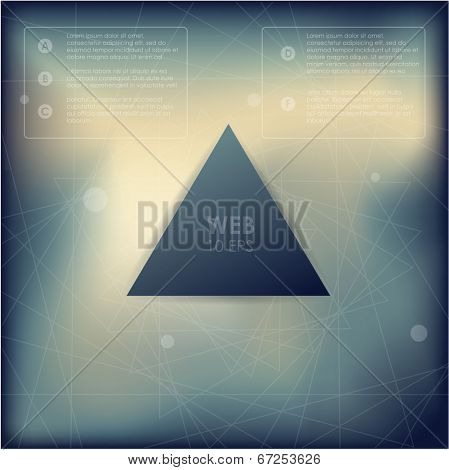 Vector web and mobile interface template. Corporate website design. Minimalistic multifunctional media backdrop. Vector. Editable. Blurred. Triangle badge label over blur background. Options