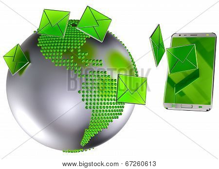 e-mail or sms sent to the mobile phone