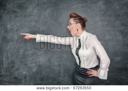 Angry Teacher Pointing Out