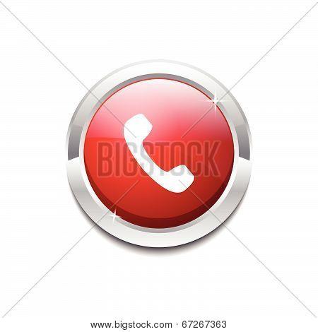 Call Circular Vector Red Web Icon Button