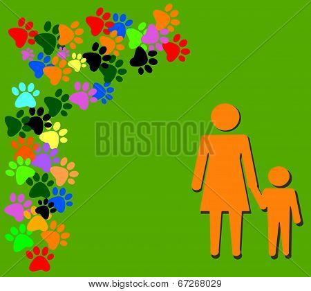 Orange Silhouette Of Mother And Child On Green Background
