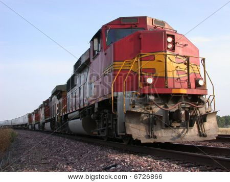 Red Locomotive Frieght Train
