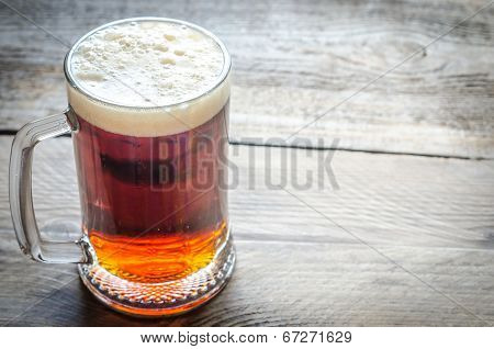 Mug With Dark Beer On The Wooden Table
