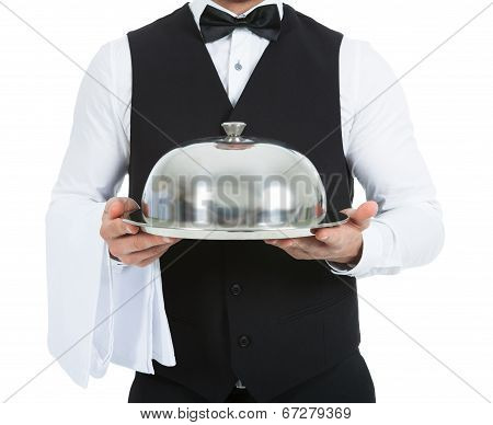 Waiter Holding Domed Tray
