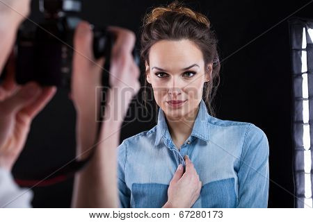 Beautiful Woman Posing During Photo Shooting