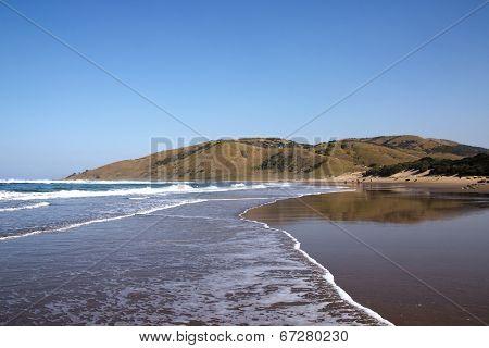 Outgoing Tide On Wild Coast Beach, Transkei, South Africa