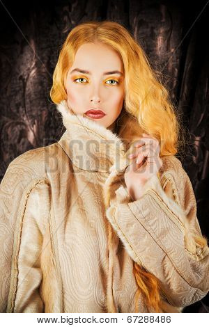 Fashion shot of a beautiful lady in a luxurious fur clothing.
