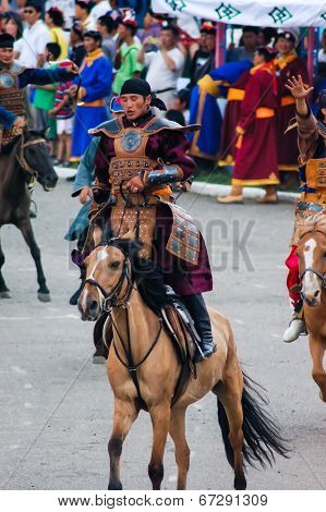 Rider Dressed As Warrior At Nadaam Opening Ceremony