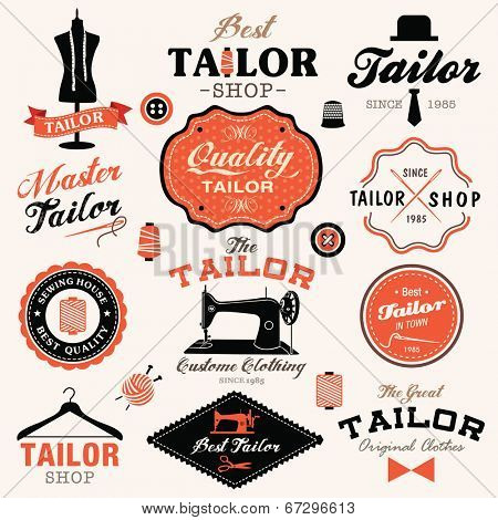 Collection of vintage retro tailor labels, badges and icons