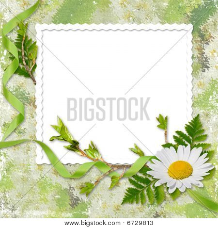 White Frame With A Ribbon And Flower On The Green Background