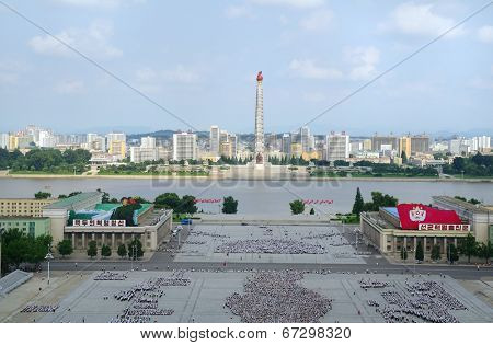 PYONGYANG, NORTH KOREA - JULY 28, 2012: View of the downtown Pyongyang capital of the North Korea