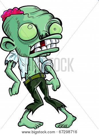 Cartoon zombie with a big head.