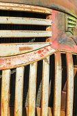 closeup abstract of a vintage rust bucket pickup truck poster