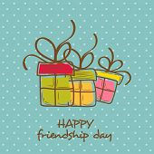 Colorful gift boxes on dots green background for Happy Friendship Day celebrations.  poster