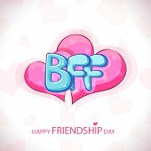 Glossy blue text BFF on shiny pink hearts on grey background for Happy Friendship Day.  poster
