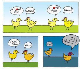 Two Chicken Having Love Conversation In Comic Style