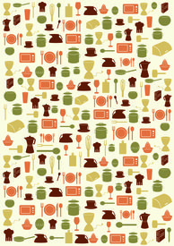 Background With Various Kitchen Symbols In Various Colours