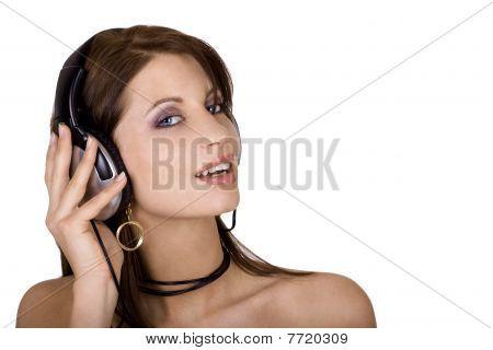 Brunette And Headphones