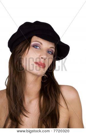 Fashion Model Wearing A Beret