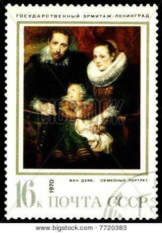 Vintage  Postage Stamp.  Anthony Van Dyck. Family Portrait