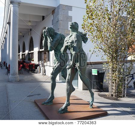 Modern sculpture of Adam and Eve in Ljubljana