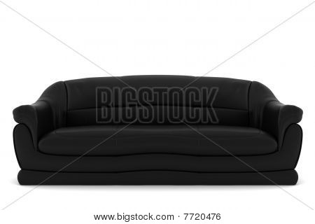 black leather sofa isolated on white background with clipping path