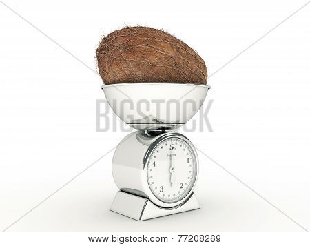 kitchen scale with giant coconut