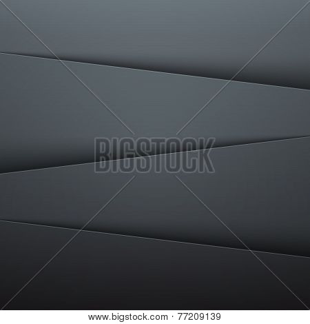 Dark grey paper layers abstract vector background